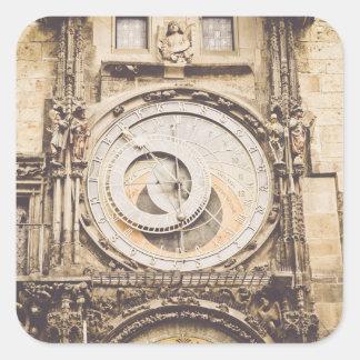 Sticker Carré Prague, horloge astronomique de République Tchèque
