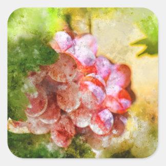 Sticker Carré Raisins de vin rouge sur la vigne