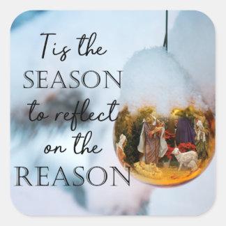 Sticker Carré Raison de la saison, ornement de nativité