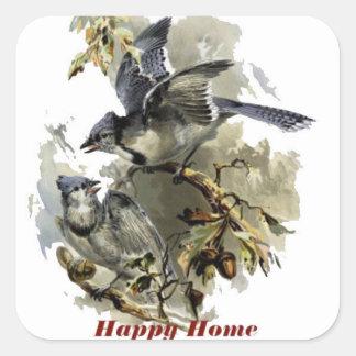 Sticker Carré Rayon bleu à la maison heureux