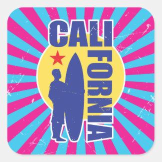Sticker Carré Rayon de soleil vintage de surfer de la Californie