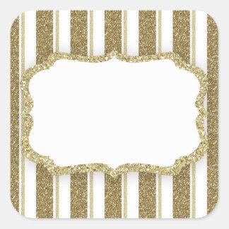 Sticker Carré Rayure de scintillement d'or - PERSONNALISER