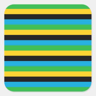 Sticker Carré Rayures de drapeau de la Tanzanie