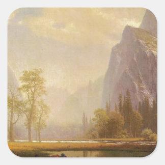 Sticker Carré Recherchant la vallée de Yosemite - Albert