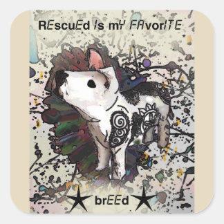 Sticker Carré Rescued est ma race préférée