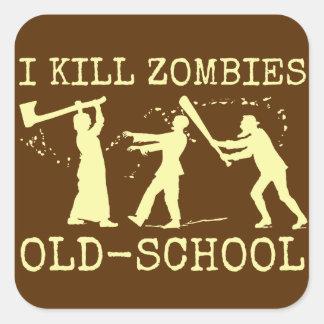 Sticker Carré Rétro chasseur drôle de tueur de zombi de vieille