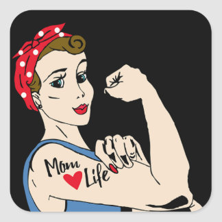 Sticker Carré Rétro Madame avec l'autocollant de tatouage et de