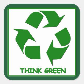 Sticker Carré Réutilisez pensent l'autocollant vert