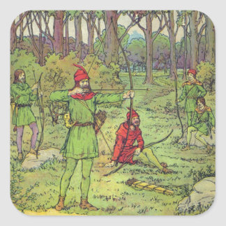 Sticker Carré Robin Hood dans la forêt