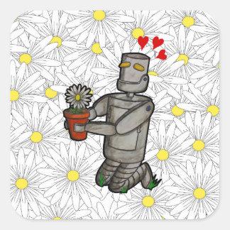Sticker Carré Robot de jardinage