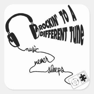 Sticker Carré Rockin à un air différent - la musique ne dort