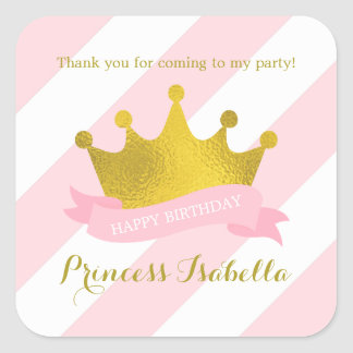 Sticker Carré Rose et princesse Birthday de diadème d'or