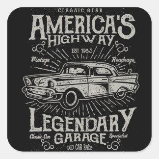 Sticker Carré Route de la voiture | Hotrod américain classique