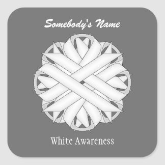 Sticker Carré Ruban de fleur blanche