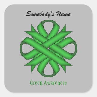 Sticker Carré Ruban vert de trèfle par Kenneth Yoncich