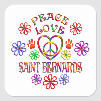 Sticker Carré Saint Bernards d'amour de paix