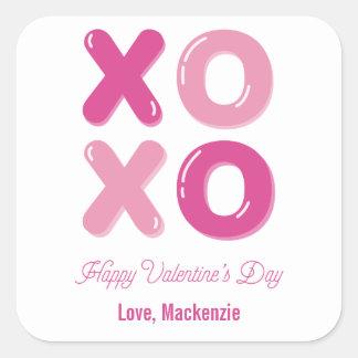 Sticker Carré Saint-Valentin de lettre de ballon de baisers