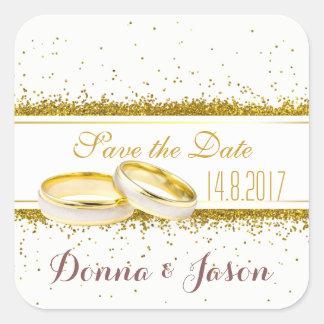 Sticker Carré Sauvez les anneaux de scintillement d'or de date -