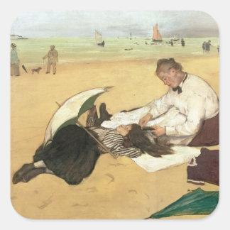 Sticker Carré Scène de plage d'Edgar Degas |