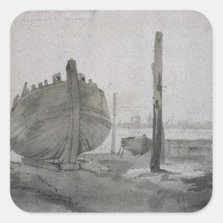 Sticker Carré Scène de rivière de John Constable | avec le