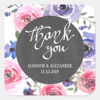 Sticker Carré S'est levé le Merci floral pourpre de mariage de