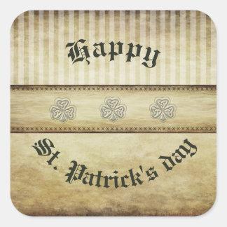 Sticker Carré Shamrock chanceux irlandais de grundge d'amusement