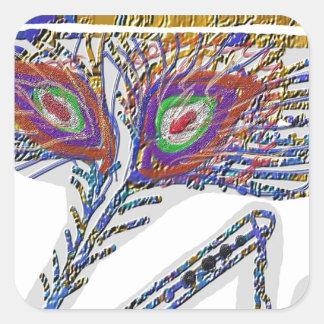 Sticker Carré Shri KRISHNA : CANNELURE, plume de paon, Makhan