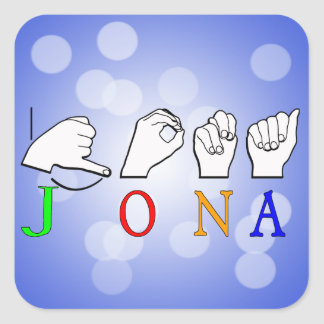 STICKER CARRÉ SIGNE NOMMÉ DE JONA ASL FINGERSPELLED
