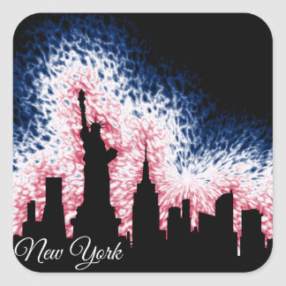 Sticker Carré Silhouette de New York City
