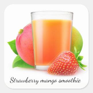 Sticker Carré Smoothie de mangue de fraise