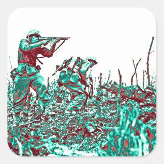 Sticker Carré Soldats de 2ÈME GUERRE MONDIALE sur le champ de