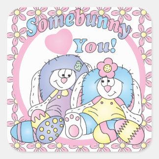 Sticker Carré Somebunny vous aime des couples de lapin de |