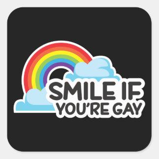 Sticker Carré Souriez si vous êtes fierté gaie de l'arc-en-ciel