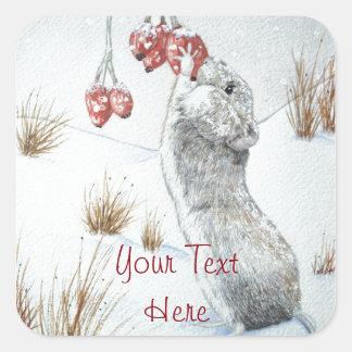 Sticker Carré Souris mignonne et art rouge de faune de scène de