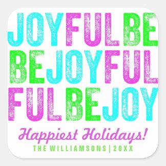 Sticker Carré Soyez coutume colorée joyeuse de vacances de Noël