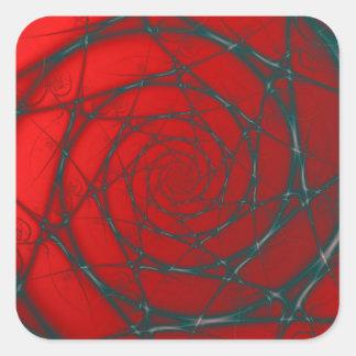 Sticker Carré Spirale de fil sur l'autocollant de carré rouge