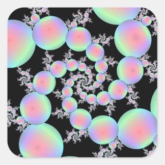 Sticker Carré Spirale de rose et de ballon de turquoise