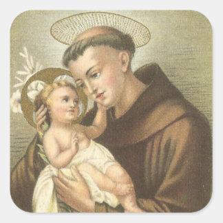 Sticker Carré St Anthony de Padoue avec le bébé Jésus