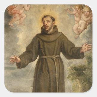 Sticker Carré St Francis du saint patron d'Assisi des animaux