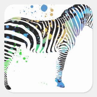 Sticker Carré Style coloré multi magique de peinture de jet de