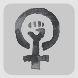 Sticker Carré Symbole féministe de poing