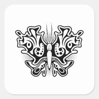 Sticker Carré Tatouage de papillon noir et blanc