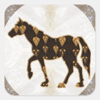 Sticker Carré Tour peint de gibier de polo d'étalon de chevaux