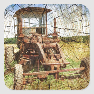 Sticker Carré Tracteur en bois primitif de construction de pays
