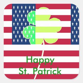 Sticker Carré Trèfle irlandais St Patrick de shamrock de drapeau