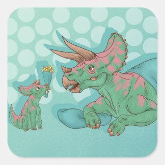Sticker Carré Triceratops donnant des fleurs
