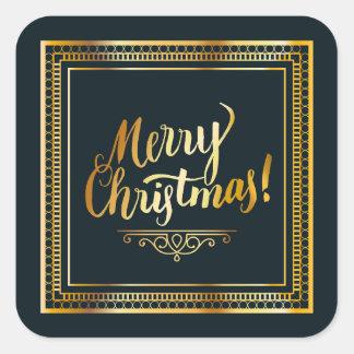 Sticker Carré Typographie d'or de manuscrit de Joyeux Noël
