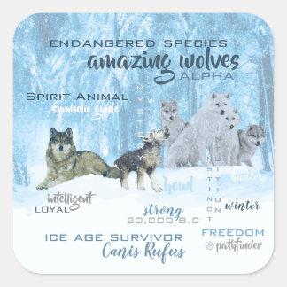 Sticker Carré Typographie extraordinaire | de loups personnalisé