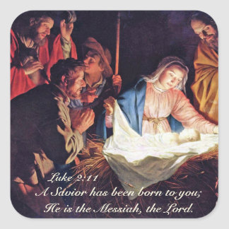 Sticker Carré Un sauveur a été né, nativité de Noël de Luc 2