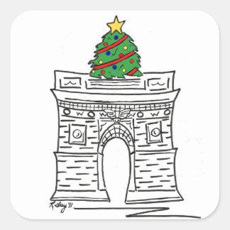 Sticker Carré Vacances carrées d'arbre de Noël de voûte de NYC